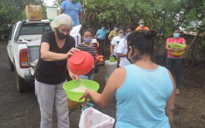 Paulette Helping Distribute Food.
